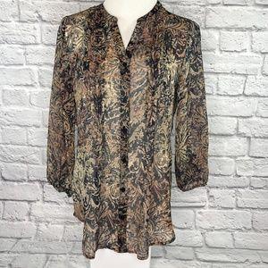 Liz Claiborne Chiffon Sheer Blouse Button Front
